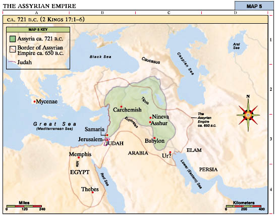 Map of the Assyrian Empire 721 BCE