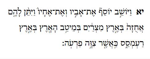 Bereishith - Genesis 47:11